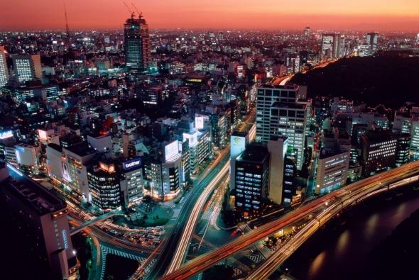 ночной Токио с высоты